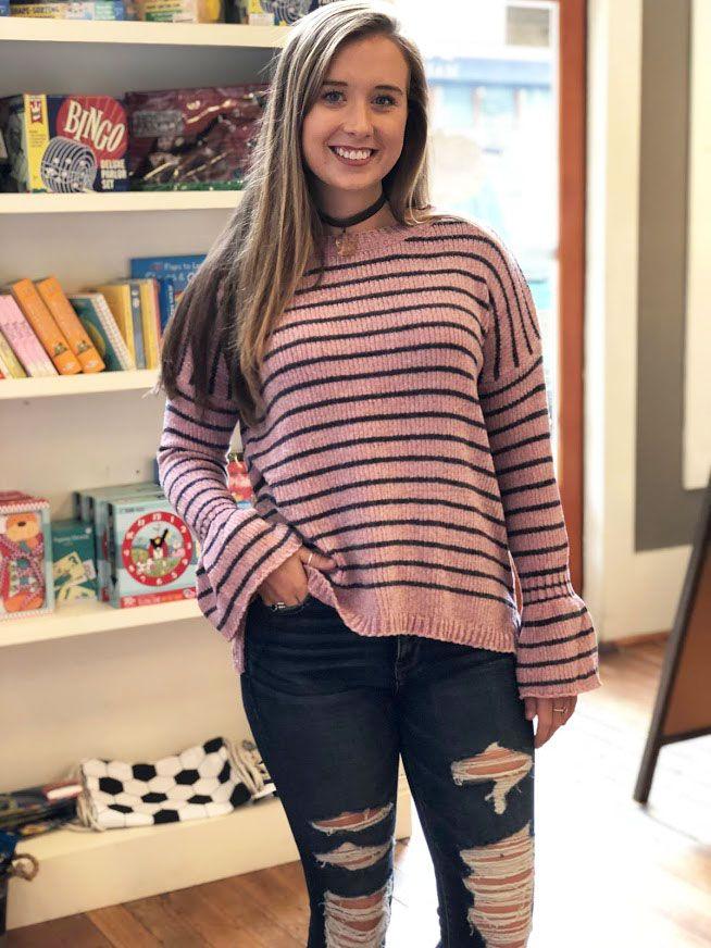 Staccato Chenille striped sweater
