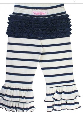 Ruffle Butts Navy & ivory stripe ruffle pants