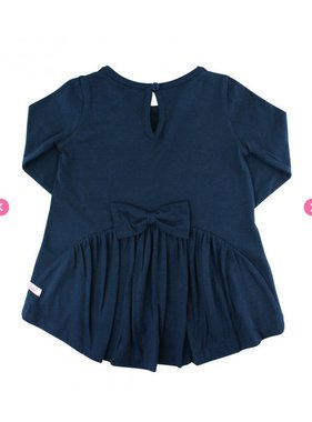Ruffle Butts Navy long sleeve bow-back top
