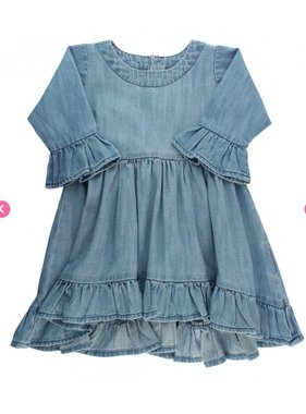 Ruffle Butts Denim high low ruffle tunic