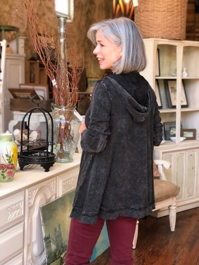 Jess & Jane Mineral wash french terry zip up jacket