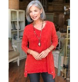 Jess & Jane Mineral washed cotton tunic with button accents