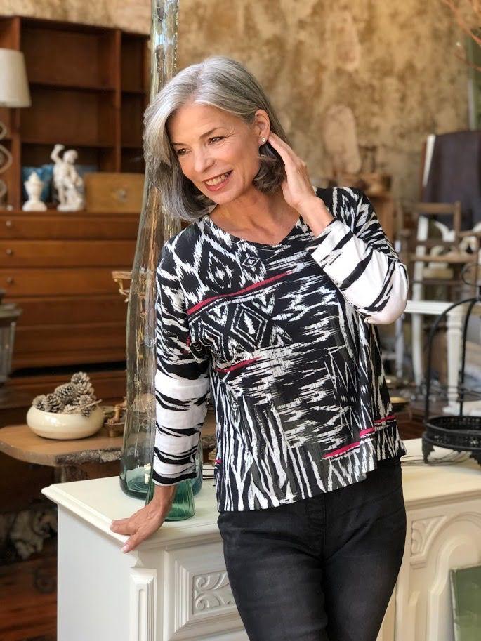 Jess & Jane Navajo art brushed hacci dolman tunic top