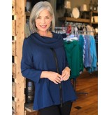 Yushi Front Zip Cowl Neck Crinkle Top