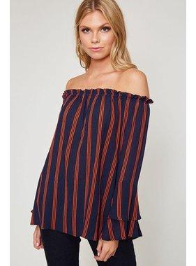 Peach Love California Off shoulder stripe print top