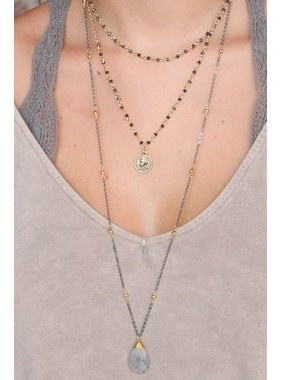 Caroline Hill Bernados triple layer bead and chain necklace