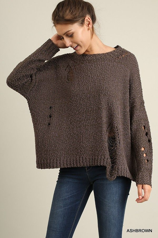 Umgee Long sleeve cutout sweater with ripped details
