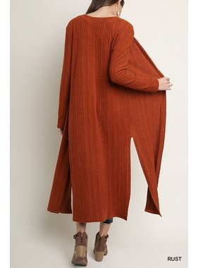 Umgee Long sleeve open front knitted long cardigan with side slits