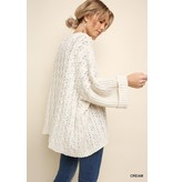 Umgee Cuffed long sleeve chenille cable knit pullover sweater