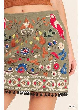 Umgee High waist floral embroidered skirt with pom pom trim