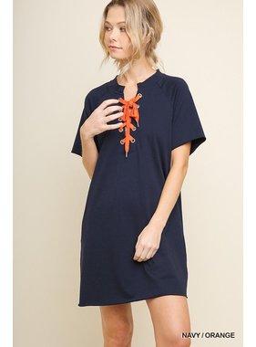 Umgee Pocket tee dress with drawstring neckline