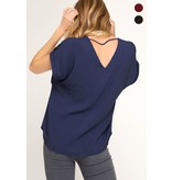 She + Sky Short sleeve woven top with back strap