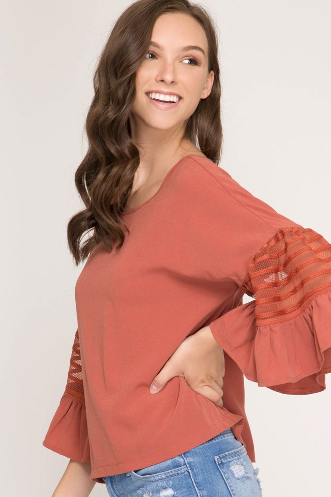 She + Sky Ruffled half sleeve woven top with striped mesh contrast