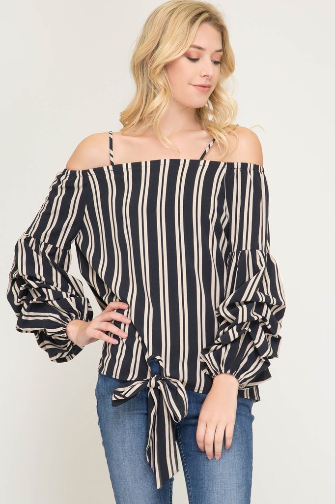She + Sky Bubble sleeve off the shoulder striped woven top with front tie detail