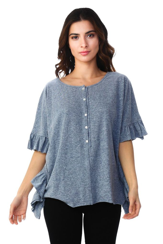 Timing Henley dolman top with ruffle detail