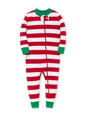 Little Me Red stripe footless pjs