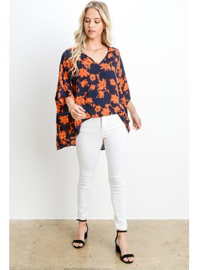 Adrienne Floral print oversized v neck tunic