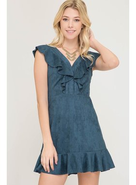 She + Sky Sleeveless faux suede fit and flare dress with ruffle detailing