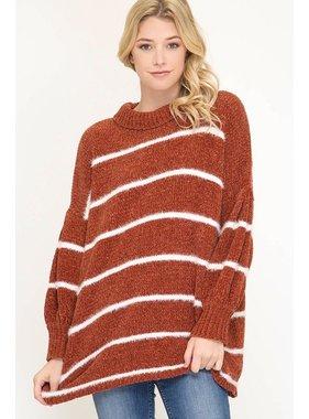 She + Sky Oversized mock neck chenille striped sweater
