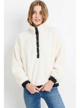 Paper Crane Fur pullover with half button front placket