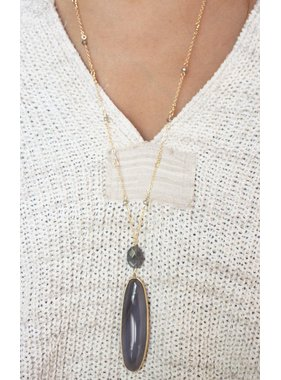 Caroline Hill Alberta oval genuine stone long necklace