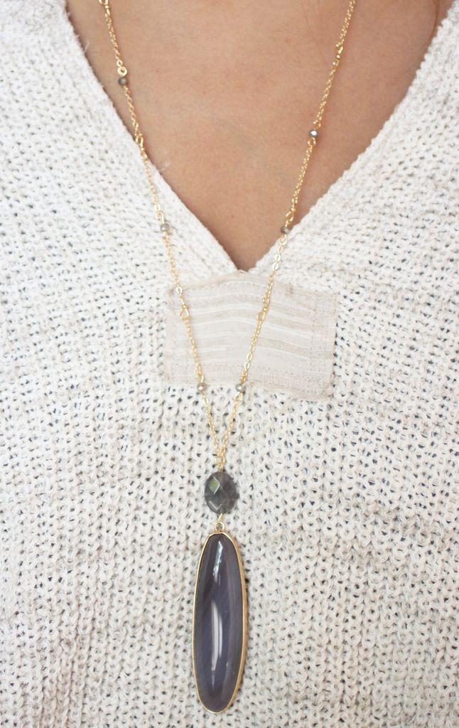 Caroline Hill Alberta oval genuine stone long necklace