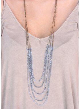 Caroline Hill Noreen multi strand chain and crystal bead necklace