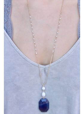 Caroline Hill Lacci natural stone and pearl delicated drop necklace