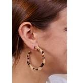 Caroline Hill Resin hexagon hoop earring