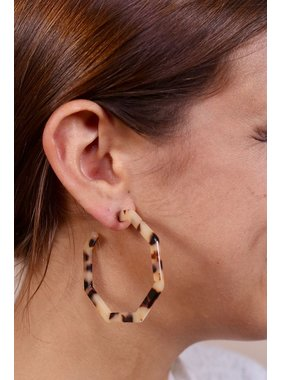 Caroline Hill Resin hexagon hoop earring