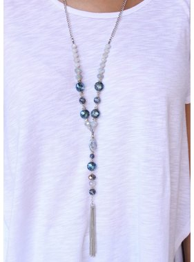 Caroline Hill Lambert glass and stone bead necklace with chain y-drop