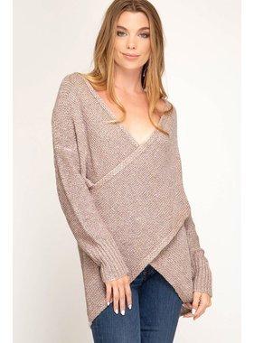 She + Sky Long sleeve surplice sweater top