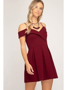 She + Sky Off the shoulder textured knit fit and flare dress