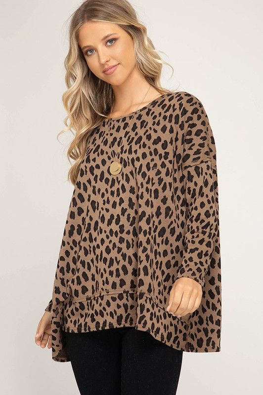She + Sky Long sleeve leopard print knit pullover top