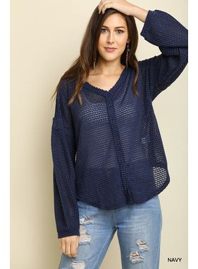 Umgee long sleeve waffle knit button front v-neck top with scoop hemline