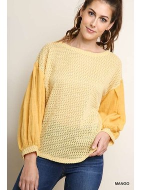 Umgee Long puff sleeve waffle knit top with scoop hemline and side slits