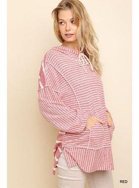 Umgee Striped long sleeve hooded top