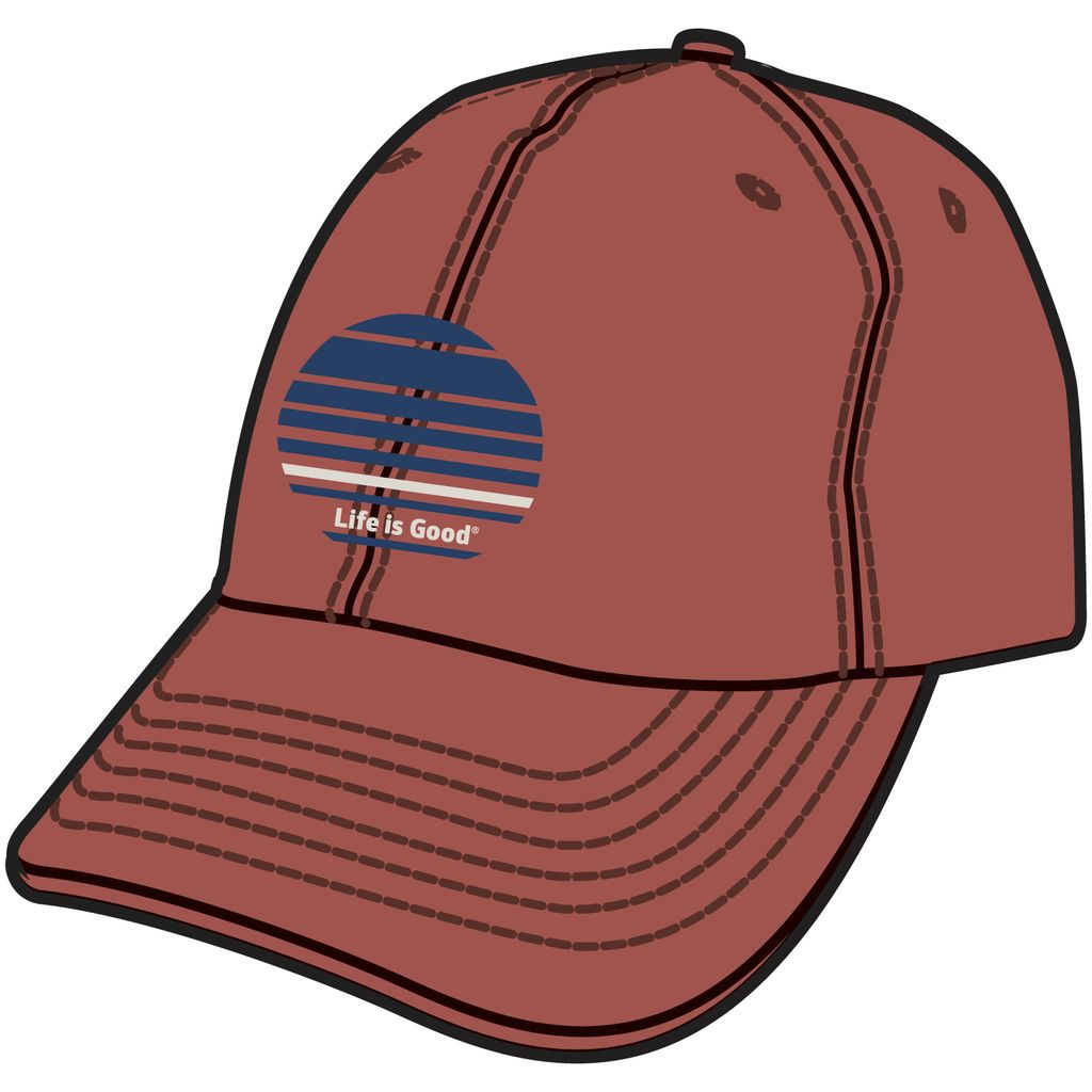 Life is Good Men's Chill Cap, LIG Stripes, Earthy Rust