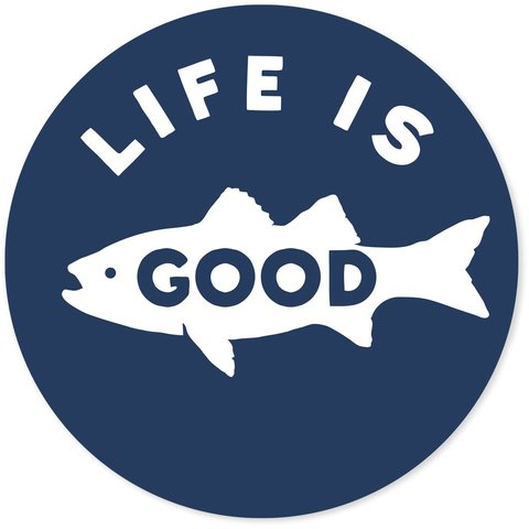 "4"" Sticker Life is Good Fish, Darkest Blue"