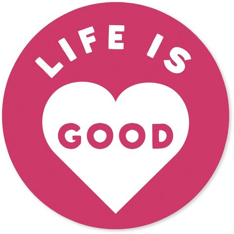 "4"" Sticker Life is Good Heart, Pop Pink"
