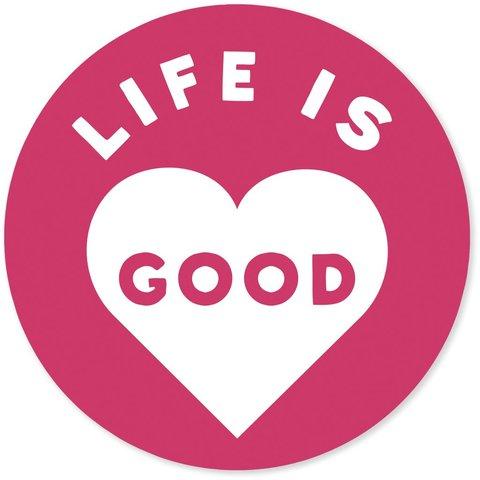 """4"""" Sticker Life is Good Heart, Pop Pink"""