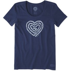 Womens Crusher Scoop Tee, Heart Bike Chain