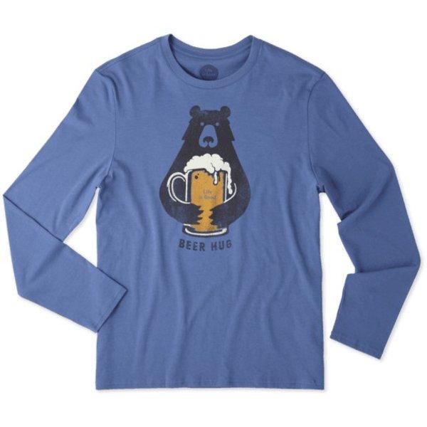 Life is Good Men's L/S Smooth Tee, Beer Hug