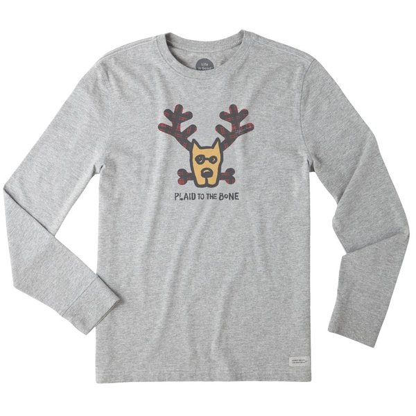 Life is Good Men's Crusher L/S Tee Plaid to the Bone Dog