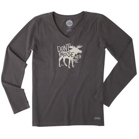 Life is Good Womens Crusher L/S Vee, Don't Moose With Me