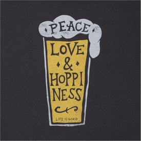 Life is Good Men's Crusher L/S Tee, Peace, Love, Hoppiness