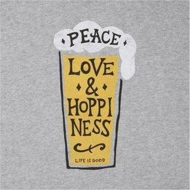 Life is Good Men's Crusher Tee, Peace, Love, Hoppiness