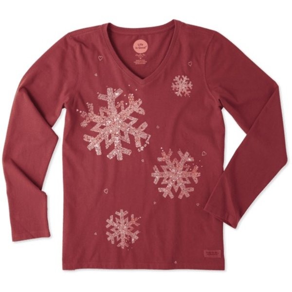 Life is Good Womens Crusher L/S Vee, Snowflakes