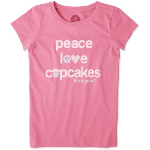 Girls Crusher Tee, Peace, Love, Cupcakes