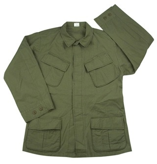 GENUINE SURPLUS Shirt, Combat, U.S. Issue, 1969 Pattern, Vietnam, Ripstop L-L [NEW]